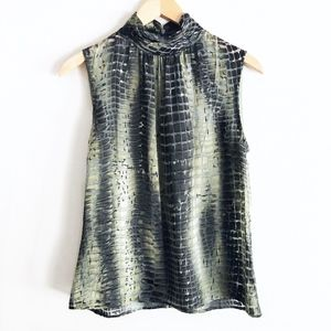 St. John Sleeveless Turtleneck Snakeskin Green Top